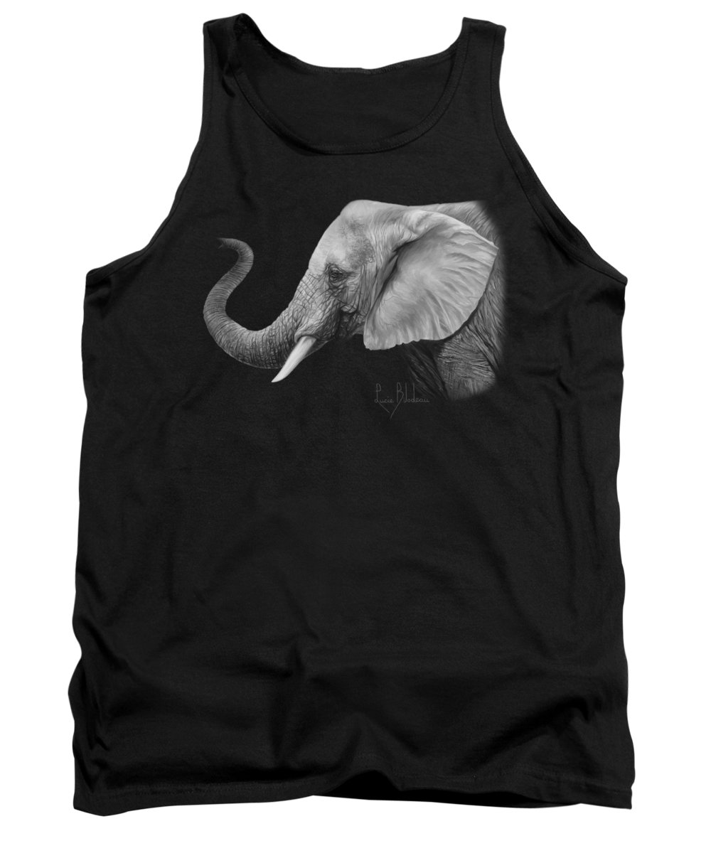 Elephant Tank Top featuring the painting Lucky - Black And White by Lucie Bilodeau