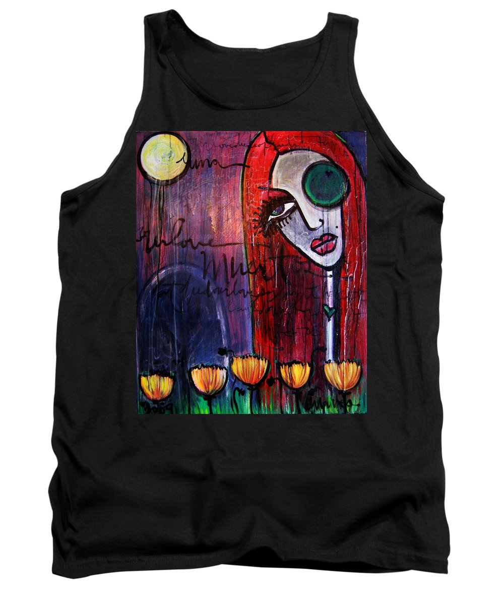 Luna Tank Top featuring the painting Luna Our Love Muertos by Laurie Maves ART