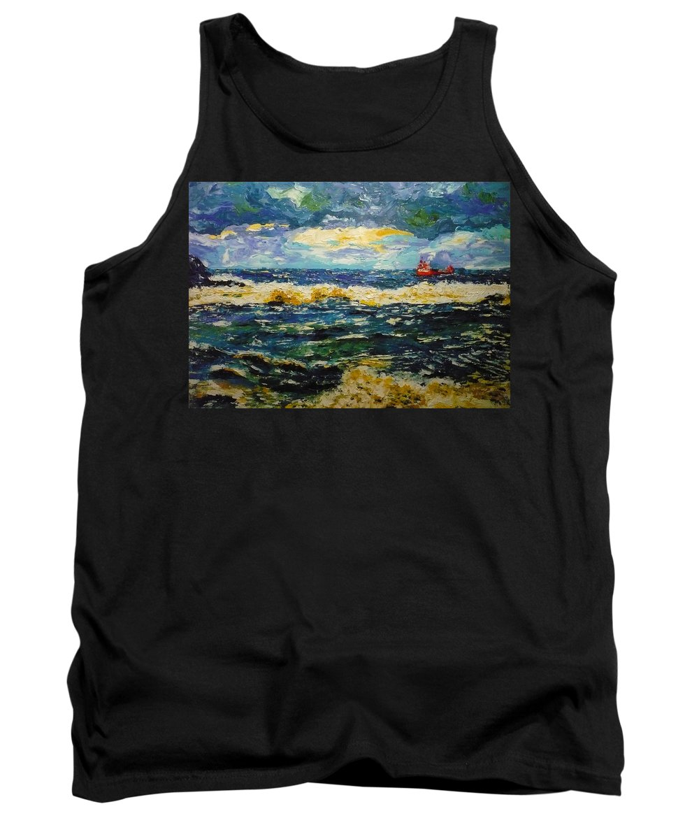 Sea Tank Top featuring the painting Mad Sea by Ericka Herazo