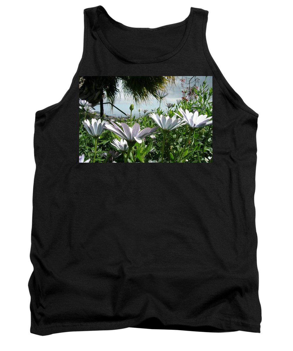 Landscape Tank Top featuring the photograph Madeira Daisies by Valerie Ornstein