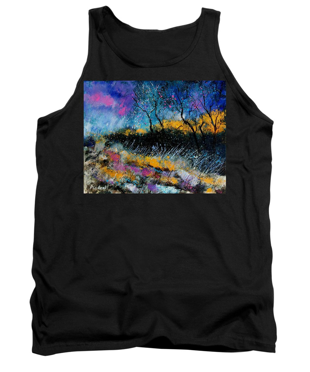 Landscape Tank Top featuring the painting Magic Morning Light by Pol Ledent