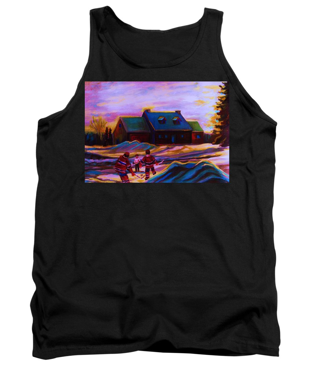 Hockey Tank Top featuring the painting Magical Day For Hockey by Carole Spandau