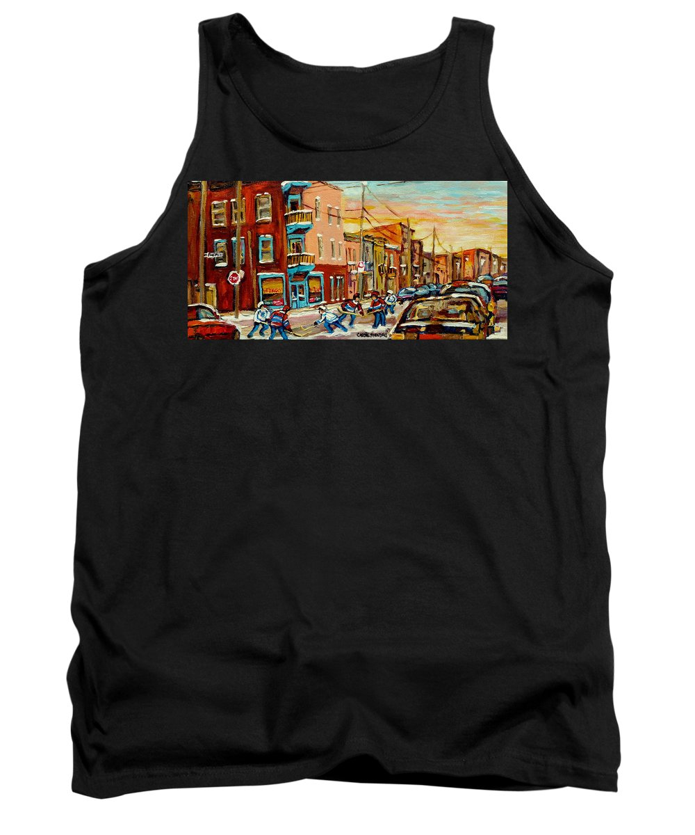 Hockey Tank Top featuring the painting Magical Hockey Game by Carole Spandau