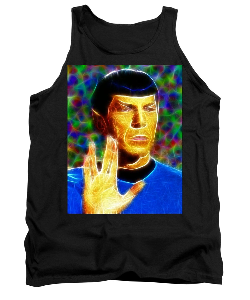 Spock Tank Top featuring the painting Magical Mr. Spock by Paul Van Scott