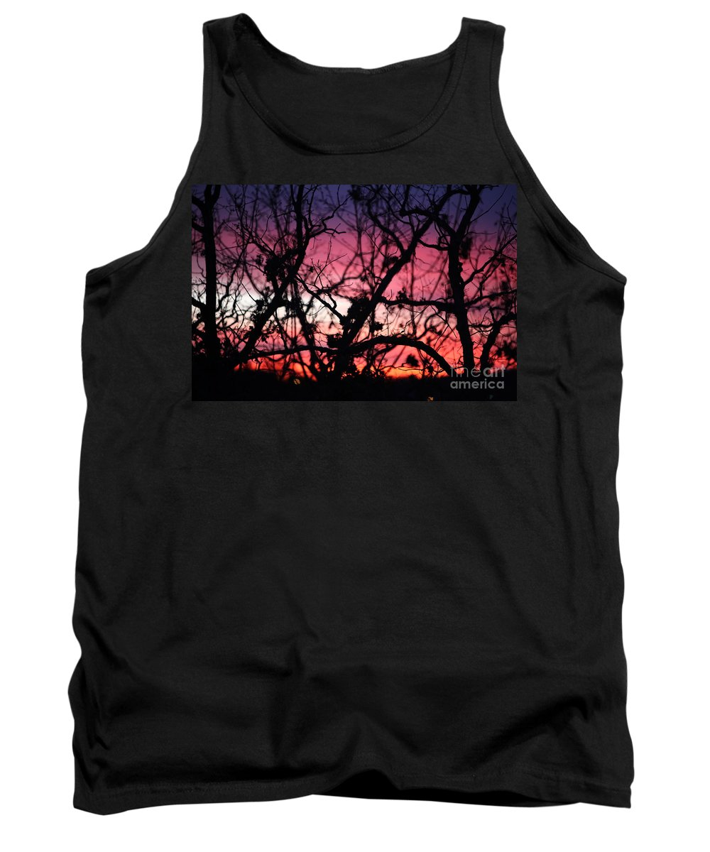 Sunset Tank Top featuring the photograph Magnificent Sunset And Trees by Nadine Rippelmeyer