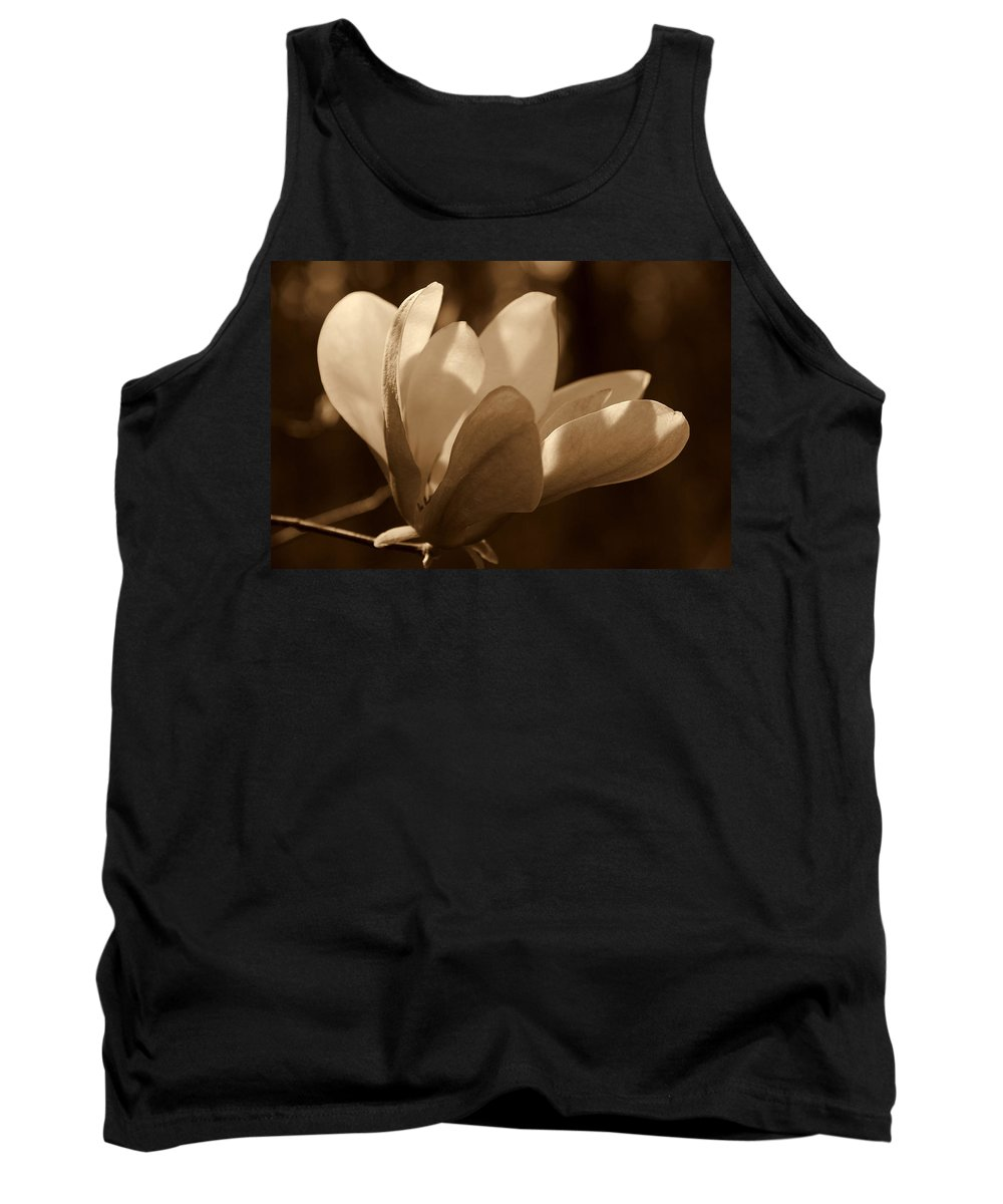 Magnolia Tank Top featuring the photograph Magnolia Blossom Bw by Susanne Van Hulst