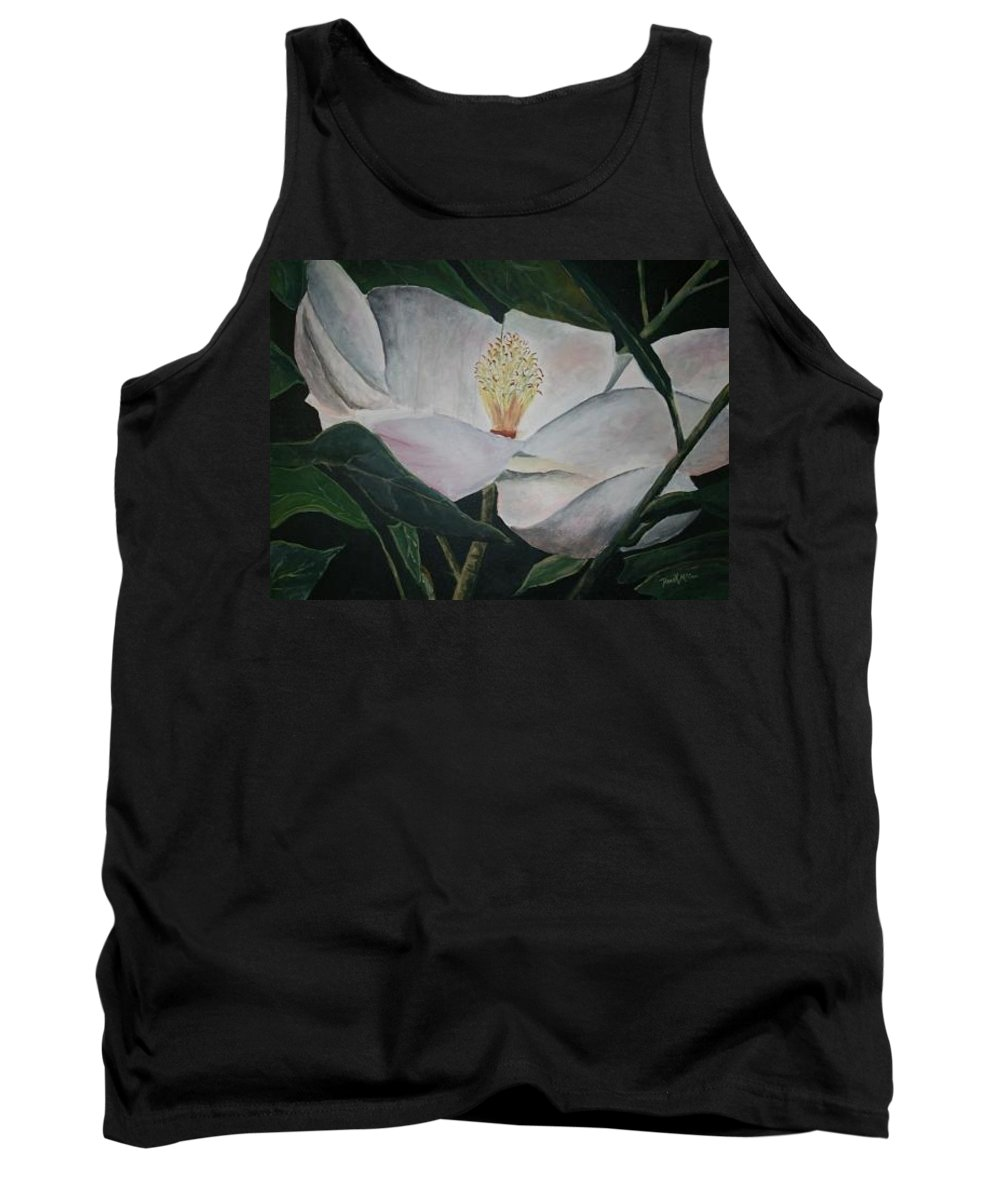 Oils Tank Top featuring the painting Magnolia Flower Oil Painting by Derek Mccrea