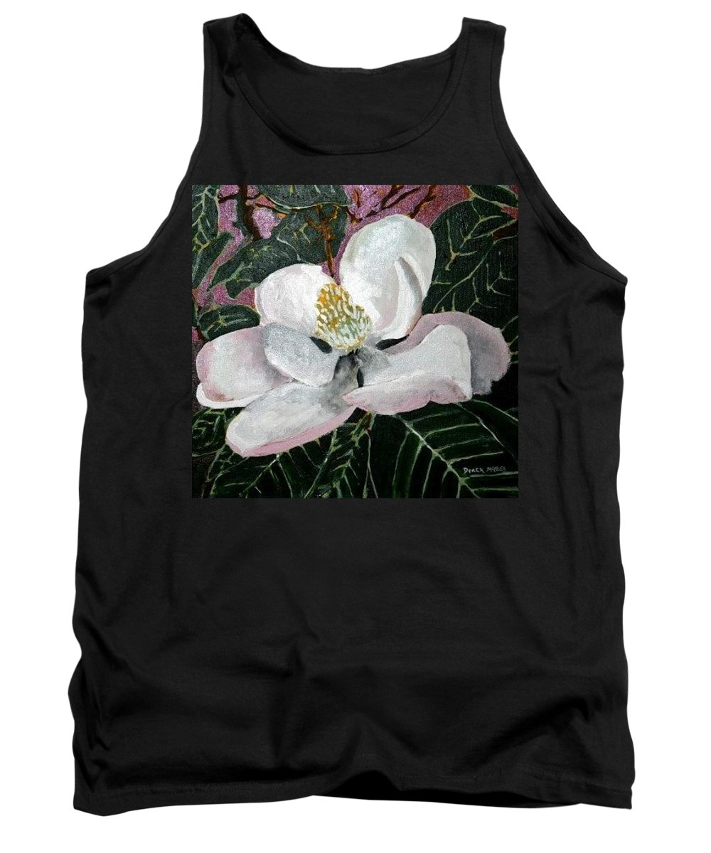 Acrylic Tank Top featuring the painting Magnolia Flower Painting by Derek Mccrea