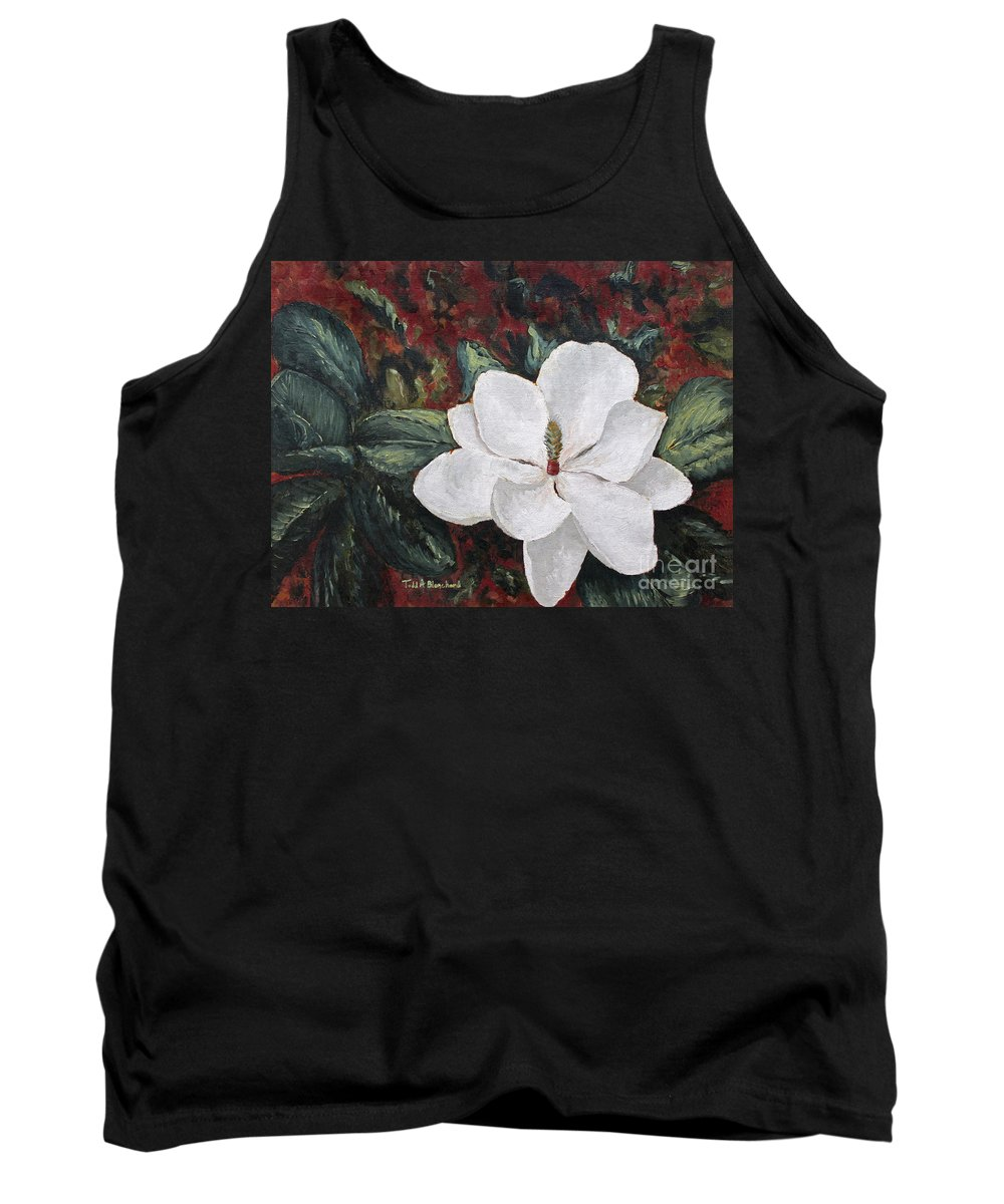 Flower Tank Top featuring the painting Magnolia by Todd A Blanchard