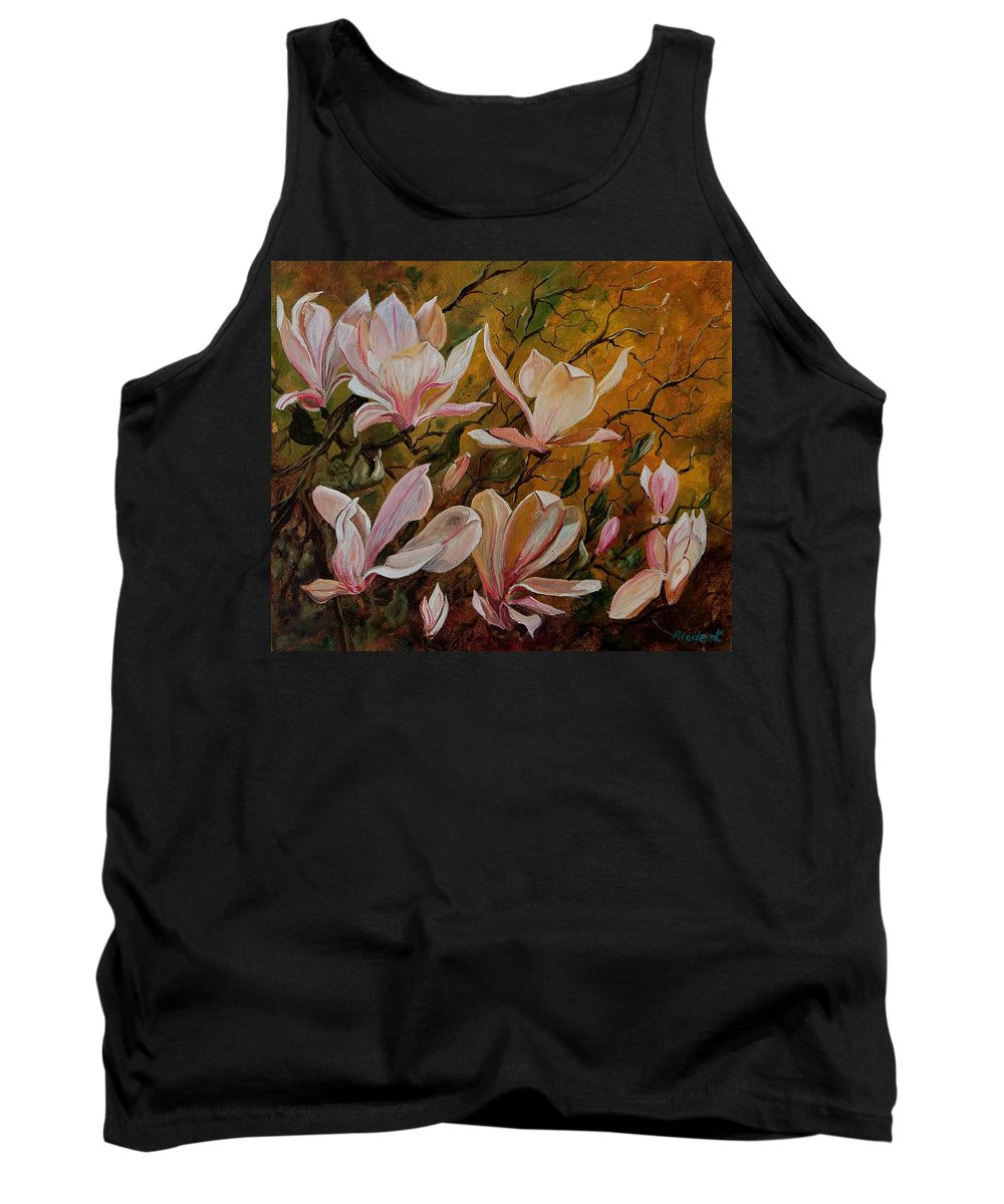 Flowers Tank Top featuring the painting Magnolias by Pol Ledent
