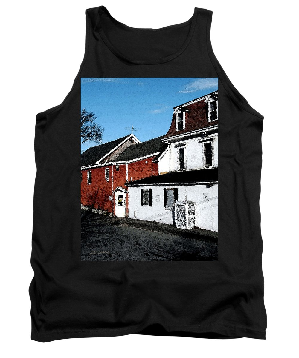 Maine Tank Top featuring the photograph Maine Blue Hill Alleyway by Ed A Gage