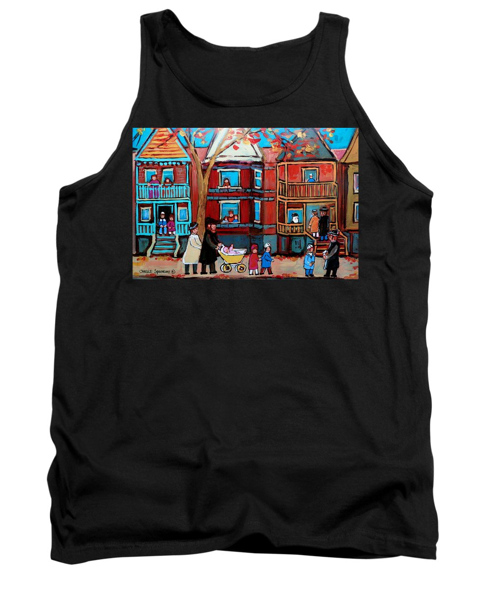 Hassidic Community Tank Top featuring the painting Mama Papa And New Baby by Carole Spandau