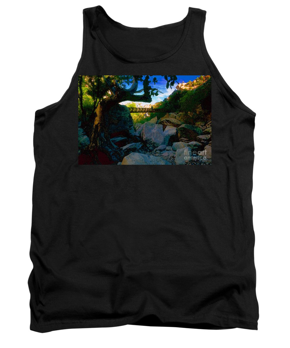 Man Tank Top featuring the painting Man On The Bridge by David Lee Thompson