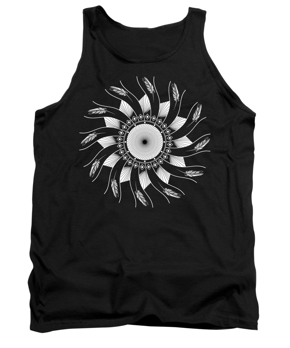 Mandala Tank Top featuring the digital art Mandala White And Black by Linda Lees