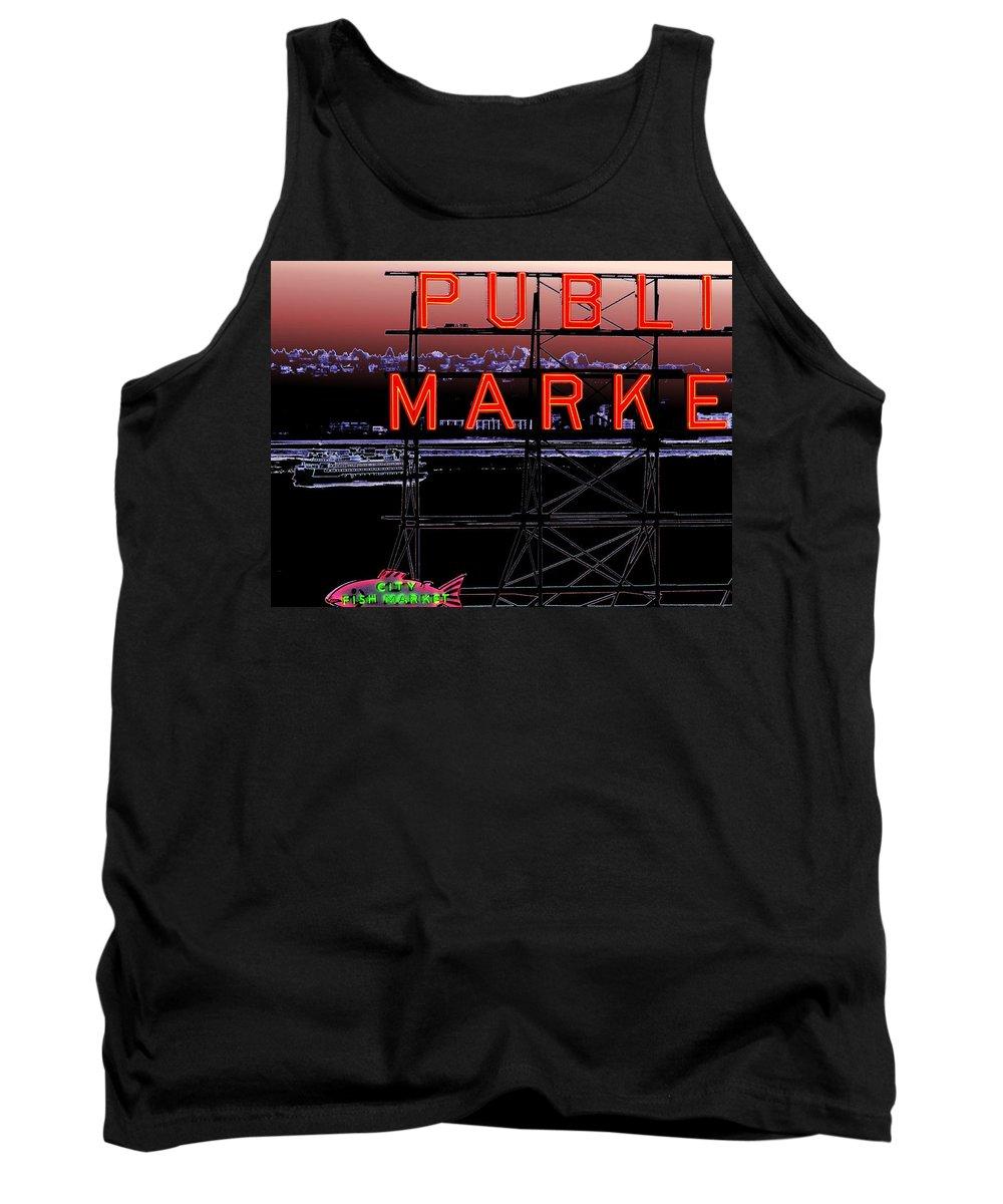 Seattle Tank Top featuring the digital art Market Ferry 2 by Tim Allen