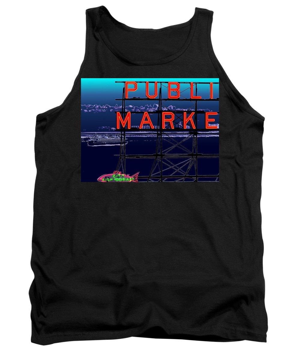 Seattle Tank Top featuring the digital art Market Ferry by Tim Allen