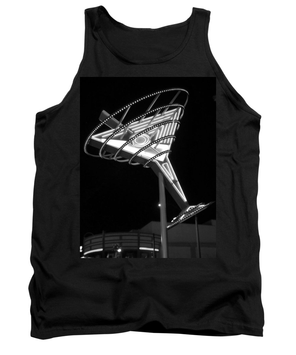Martini Tank Top featuring the photograph Martini Sign B-w by Anita Burgermeister