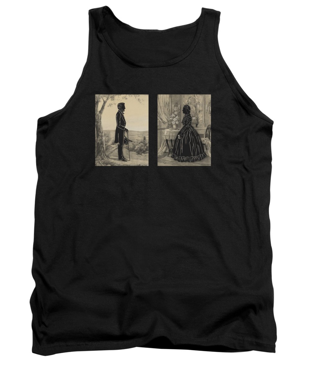 Abraham Lincoln Tank Top featuring the mixed media Mary Todd and Abraham Lincoln Silhouettes by War Is Hell Store