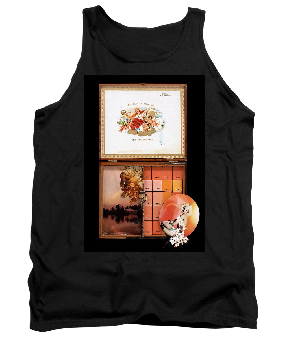 Cigar Box Tank Top featuring the mixed media Maybe Yes by Jaime Becker