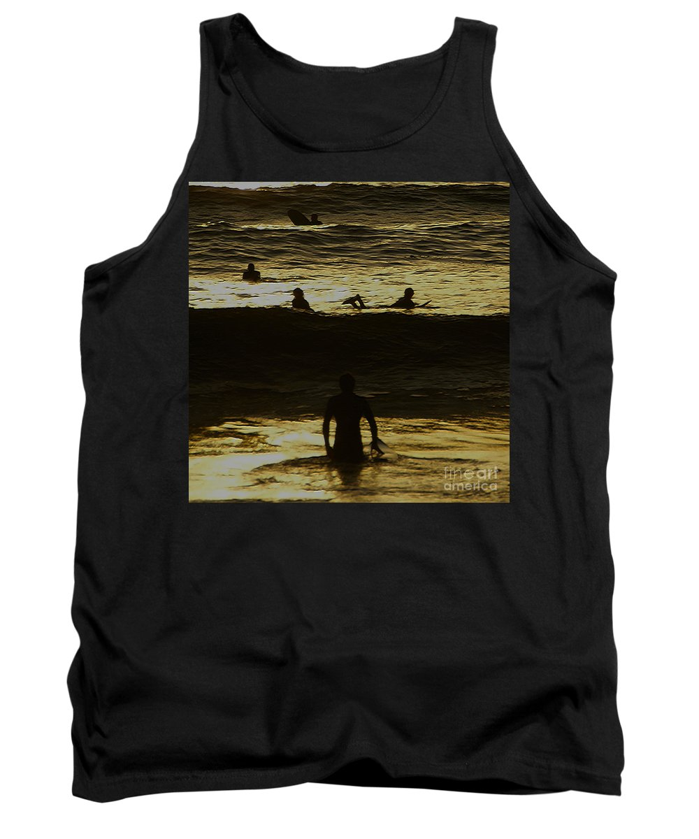 Ocean Tank Top featuring the photograph Meditari - Gold by Linda Shafer