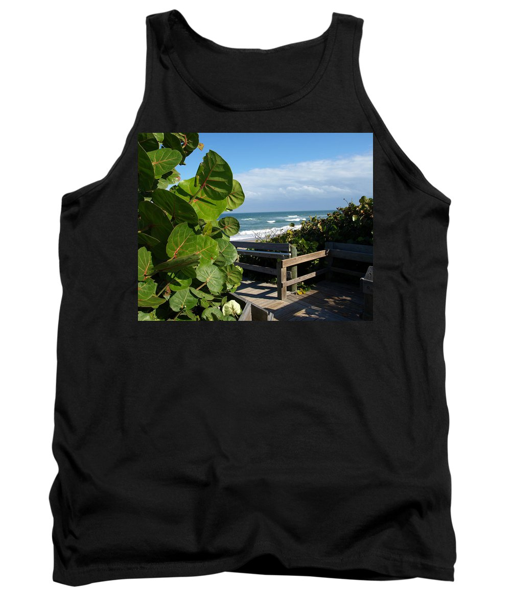 Seagrape; Sea; Grape; Ocean; Cocoanut; Point; Melbourne; Beach; Florida; Waves; Surf; Seascape; Brev Tank Top featuring the photograph Melbourne Beach Florida by Allan Hughes