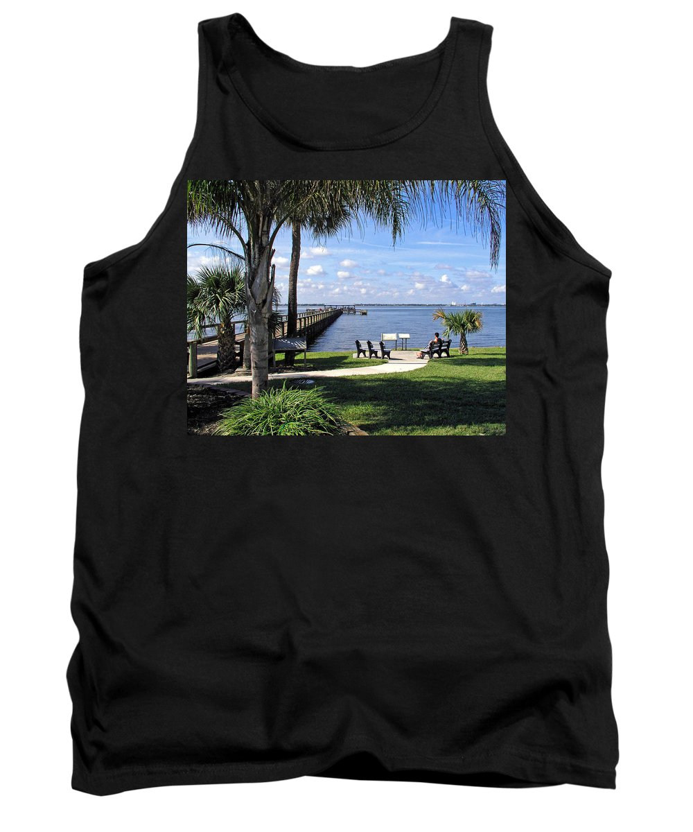 Melbourne; Beach; Pier; Florida; Peaceful; Peace; Indian; River; South; Scene; Scenery; South; South Tank Top featuring the photograph Melbourne Beach Pier In Florida by Allan Hughes