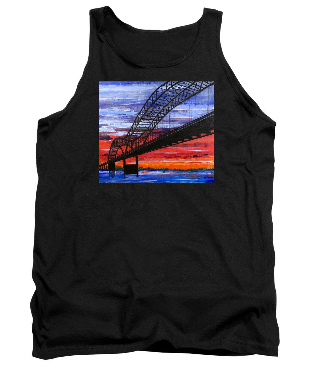 Memphis Tank Top featuring the painting Memphis Bridge At Sunset by Rollin Kocsis