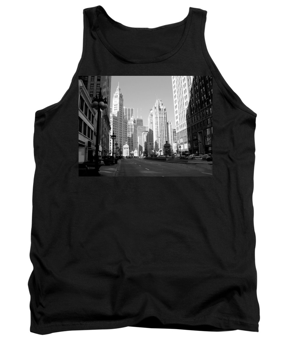 Chicago Tank Top featuring the photograph Michigan Ave Wide B-w by Anita Burgermeister