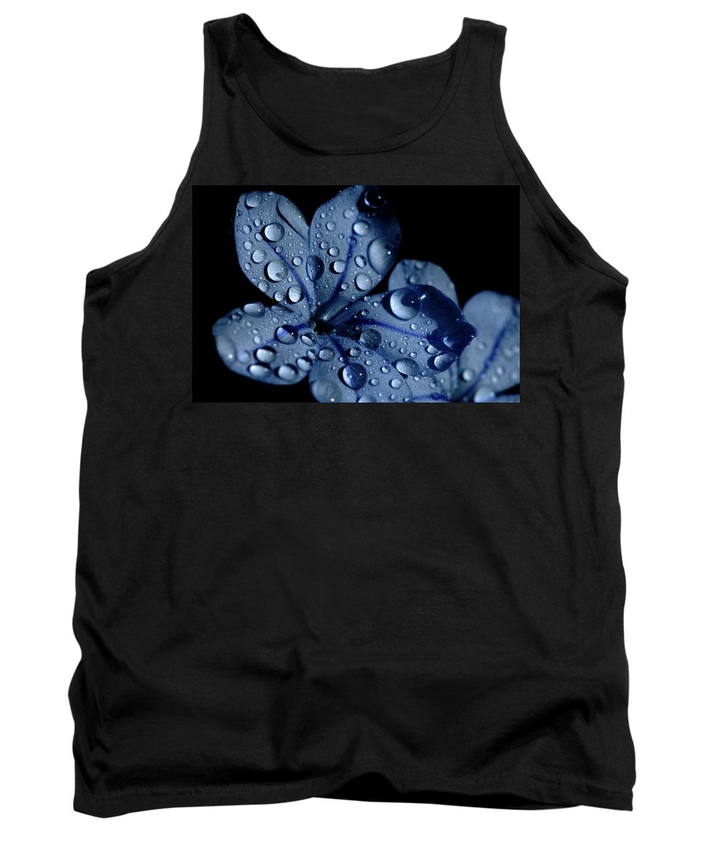 Blue Tank Top featuring the photograph Midnight Dew by Donna Blackhall