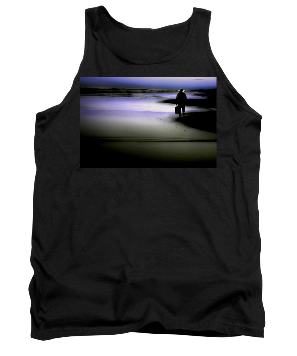Man Walking On The Beach Tank Top featuring the photograph Midnight Wanderer by Gray Artus
