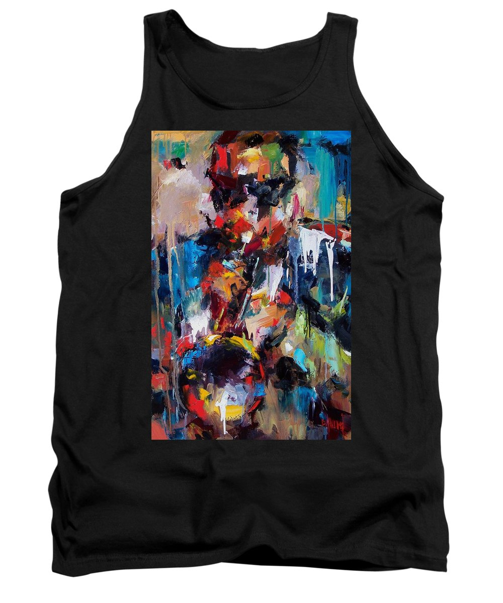 Jazz Art Tank Top featuring the painting Miles Davis 2 by Debra Hurd