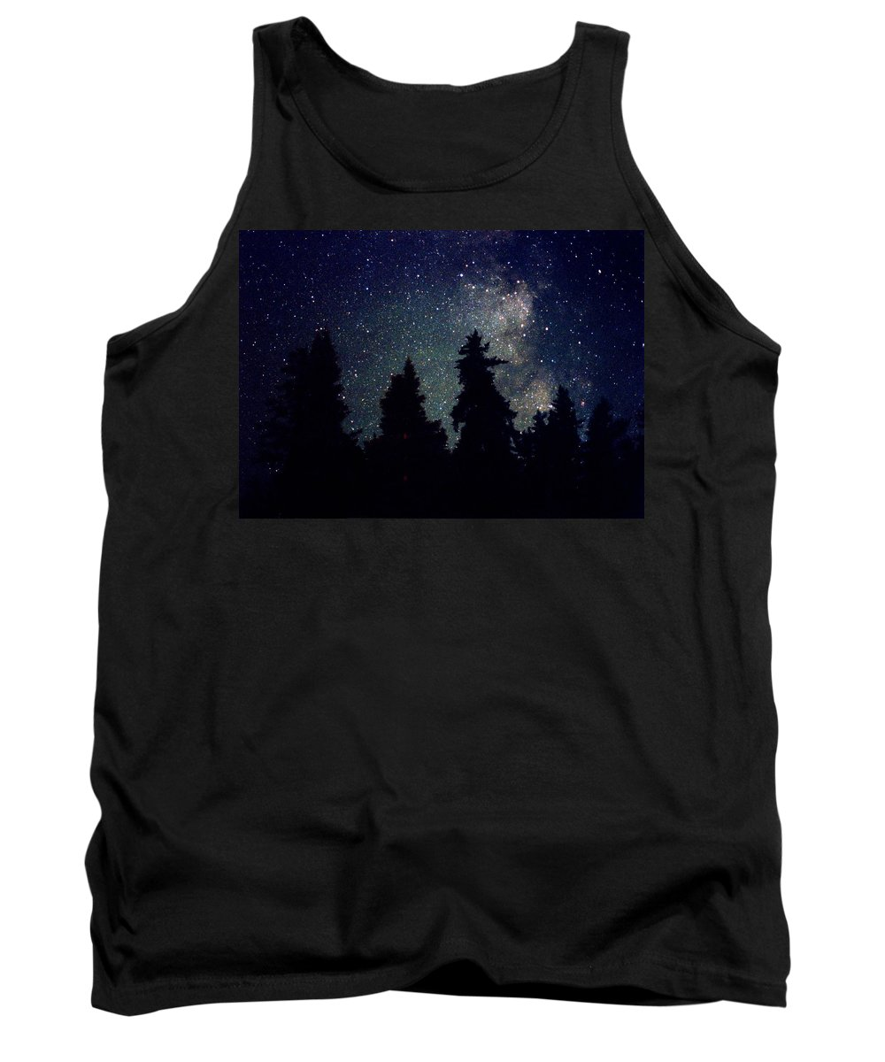 Milky Way Tank Top featuring the photograph Milky Way Above Northern Forest 22 by Lyle Crump