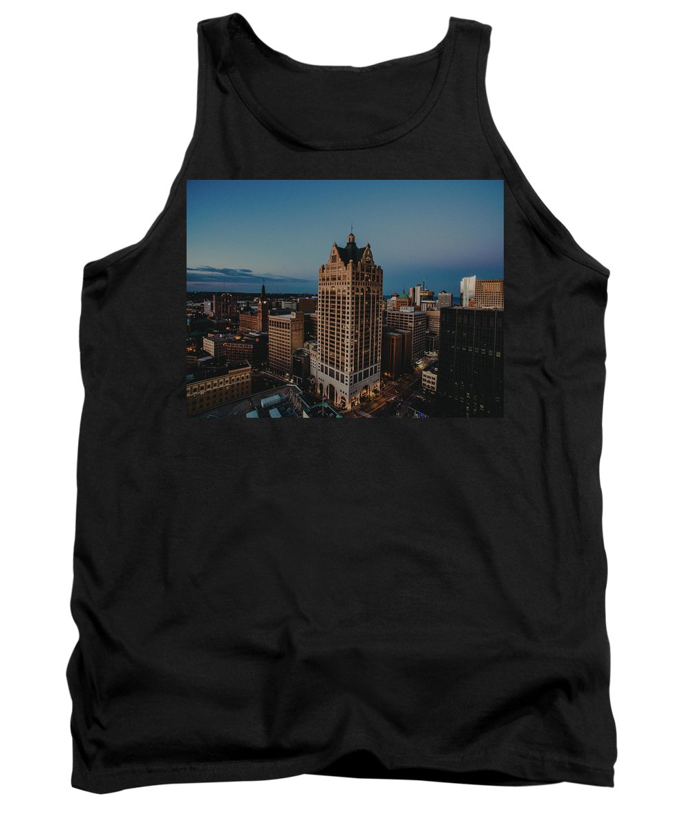 Drone Tank Top featuring the pyrography Milwaukee Aerial. by Khotic H