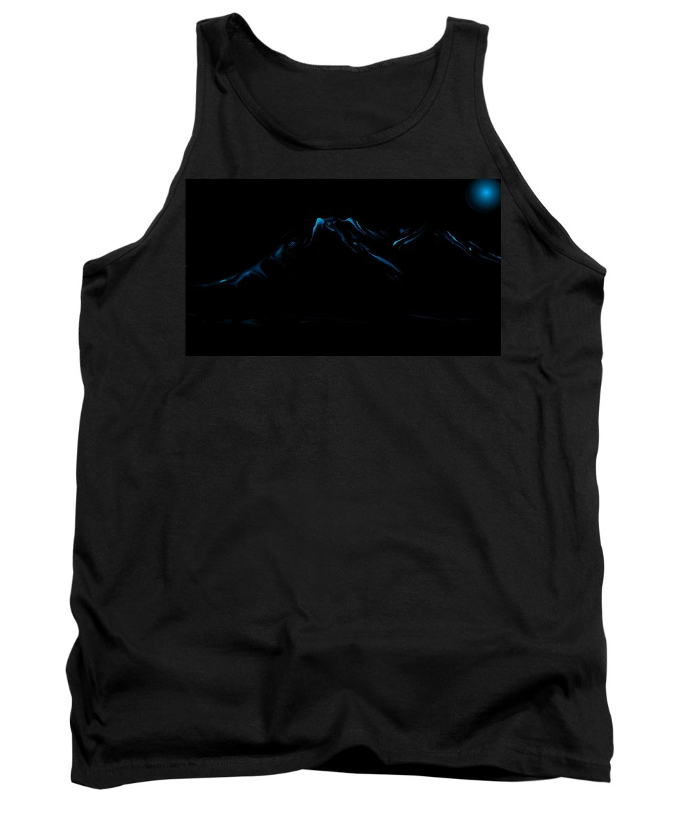 Digital Art Tank Top featuring the digital art Minimal Landscape Blue by David Lane