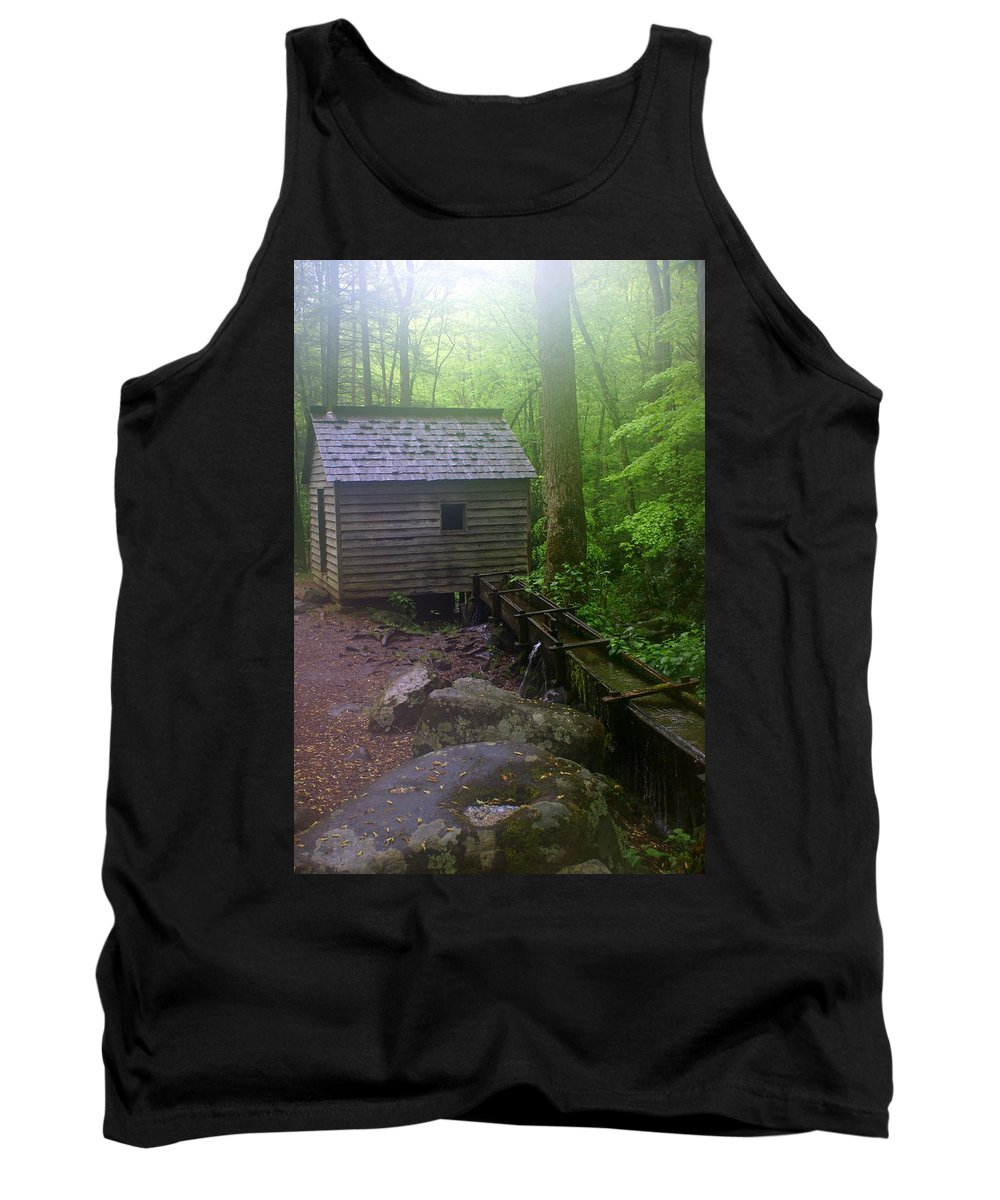 Smokey Mountain National Park Tank Top featuring the photograph Misty Mill by Marty Koch