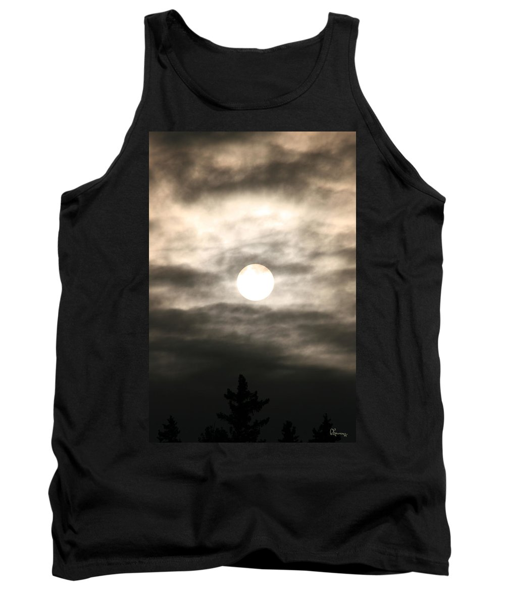 Sunrise Sun Clouds Trees Sky Piprell Lake Saskatchewan Tank Top featuring the photograph Misty Sunrise by Andrea Lawrence