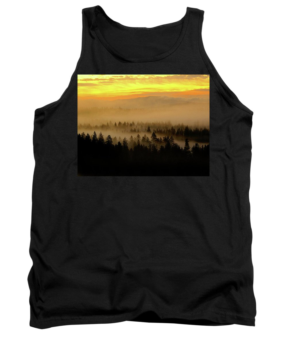 Nature Tank Top featuring the photograph Misty Sunrise by Ben Upham III