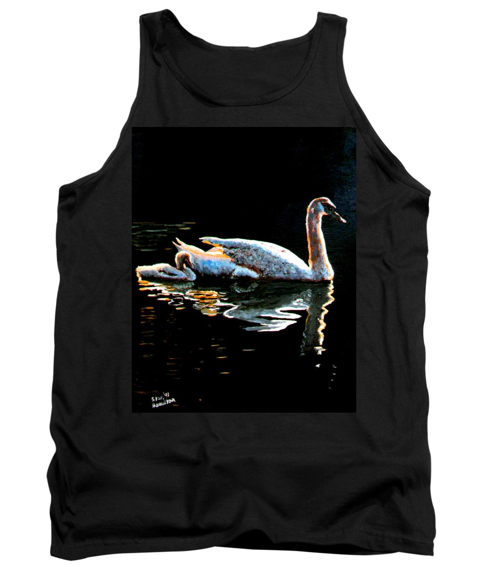 Swan Tank Top featuring the painting Mom And Baby Swan by Stan Hamilton