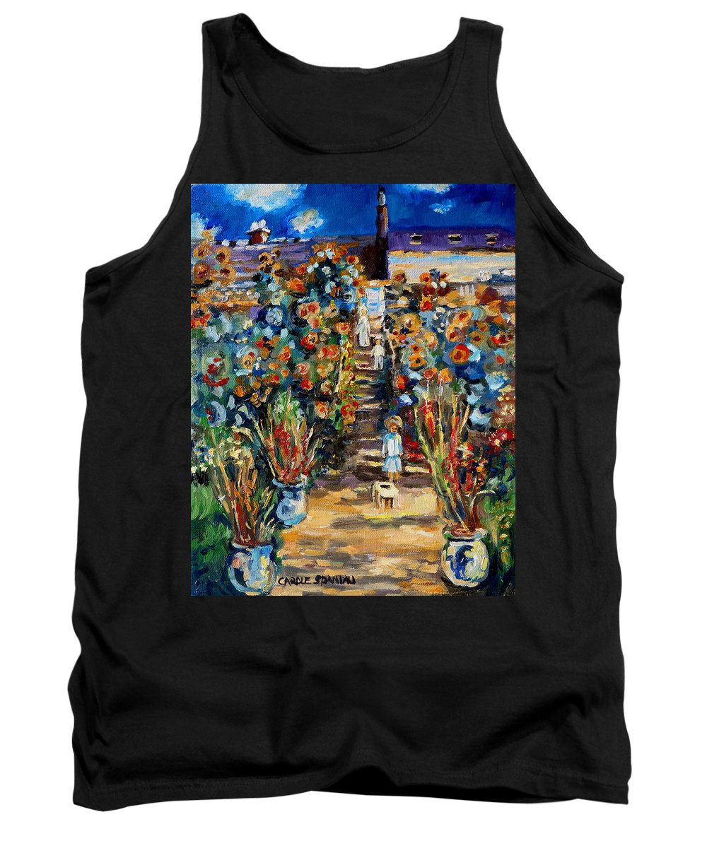 Monet Tank Top featuring the painting Monets Flower Garden by Carole Spandau