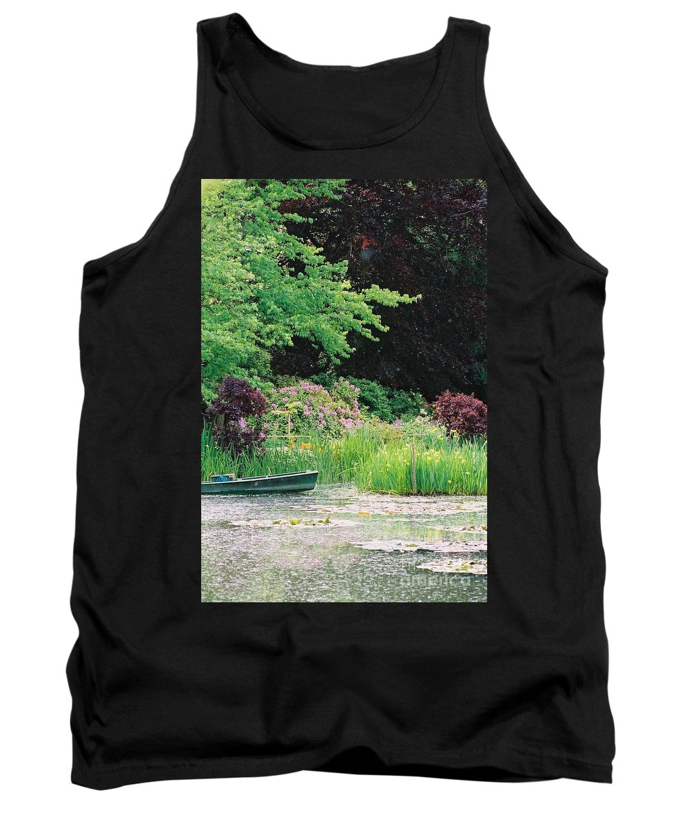 Monet Tank Top featuring the photograph Monet's Garden Pond And Boat by Nadine Rippelmeyer