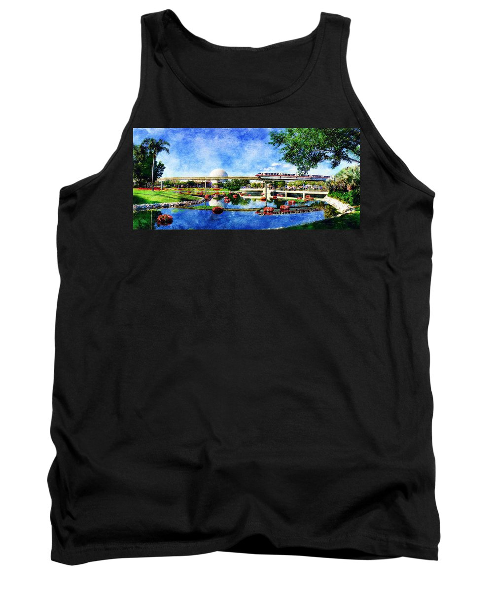 Epcot Tank Top featuring the digital art Monorail Red - Coming 'Round the Bend by Sandy MacGowan