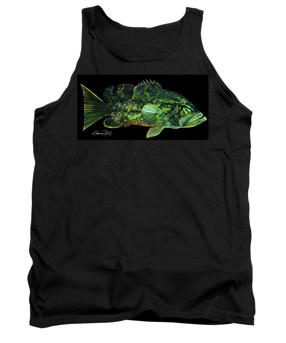 Hidden Images Tank Top featuring the painting Monster Melon by Geoffrey Filer