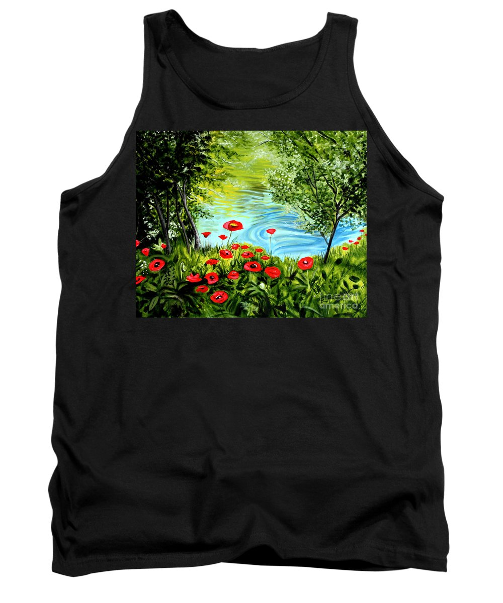 Landscape Tank Top featuring the painting Monte Rio Poppies by Elizabeth Robinette Tyndall