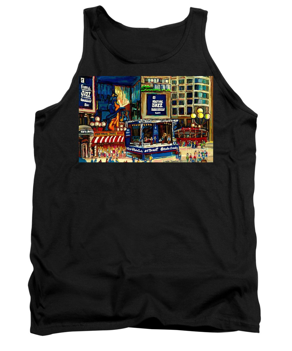 Montreal Tank Top featuring the painting Montreal Jazz Festival Arcade by Carole Spandau