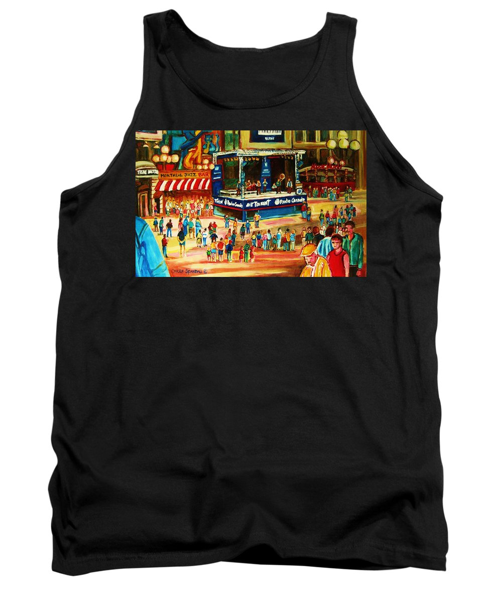 Montreal Tank Top featuring the painting Montreal Jazz Festival by Carole Spandau