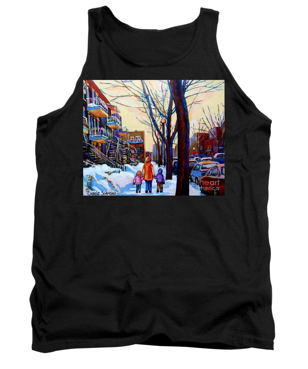 Montreal Tank Top featuring the painting Montreal Winter by Carole Spandau