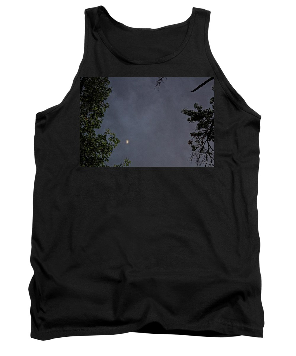 Moon Tank Top featuring the photograph Moon On A Cloudy Night by Janet K Wilcox