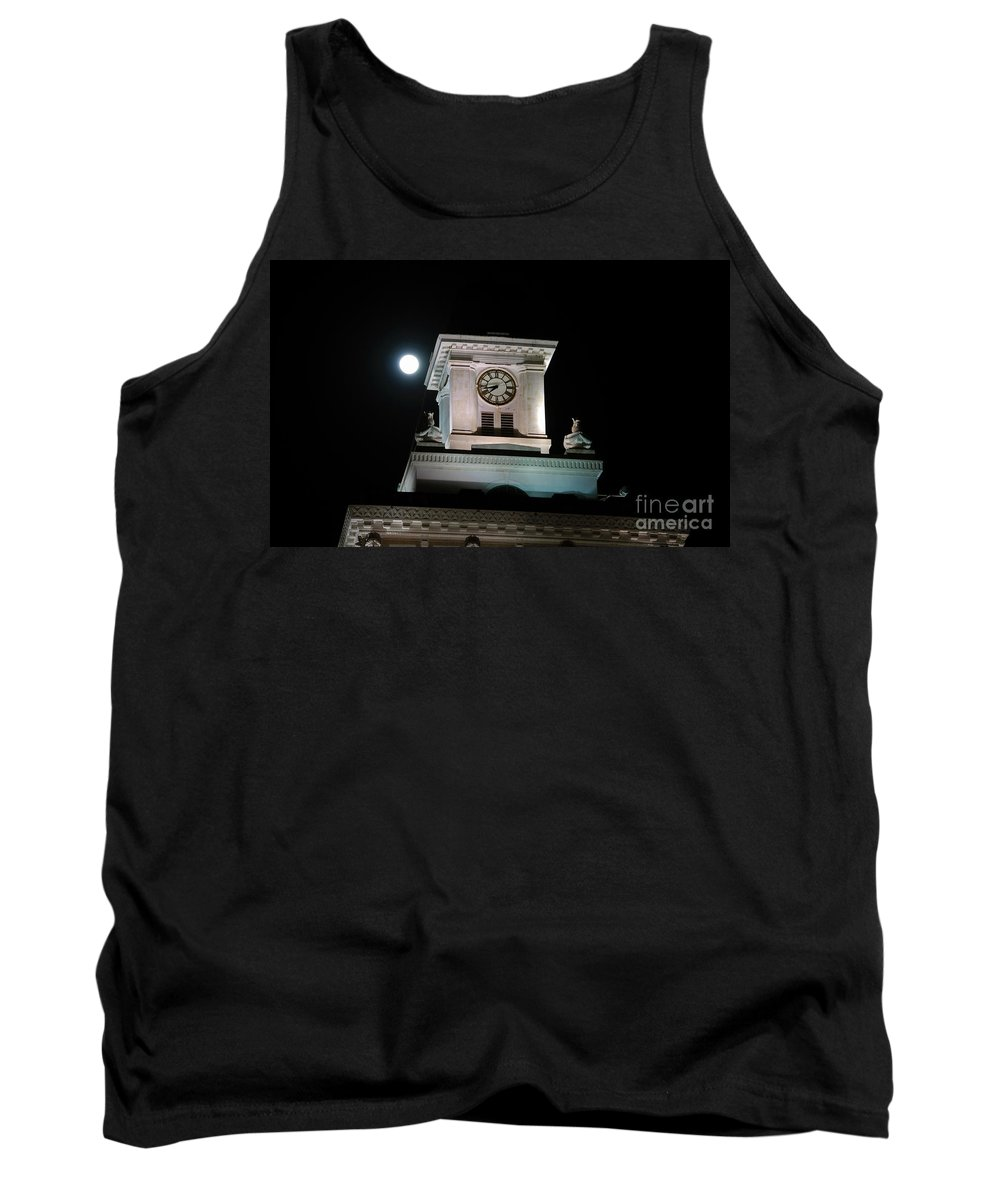 Full Moon Tank Top featuring the photograph Moon Over City Hall by David Lee Thompson