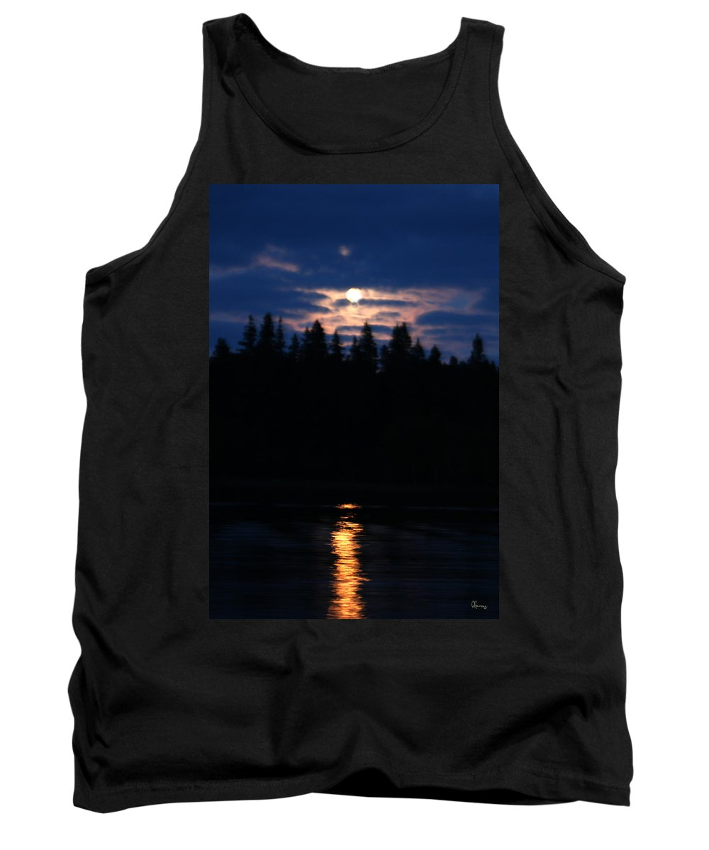 Moon Lake Reflection Water Trees Forest Sky Clouds Moonlight Piprell Lake Saskatchewan Canada Tank Top featuring the photograph Moon Over Piprell Lake by Andrea Lawrence