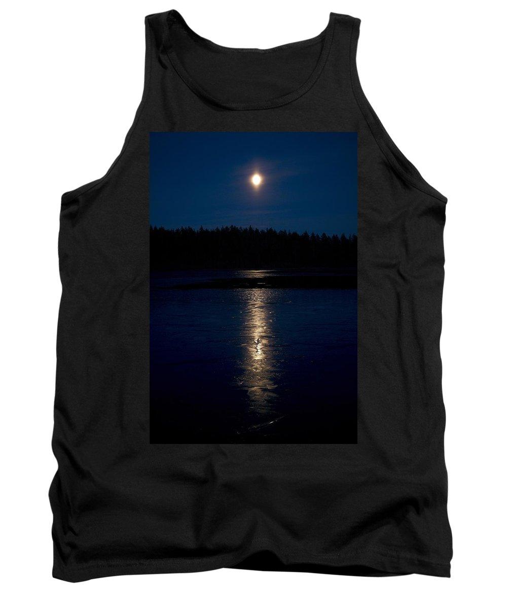 Lehtokukka Tank Top featuring the photograph Moon Over Saari-soljanen 1 by Jouko Lehto